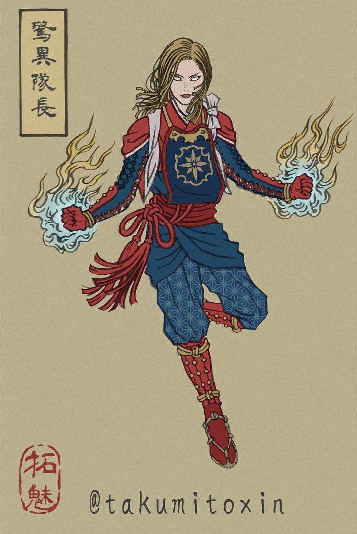 captain marvel artworks ukyo-e
