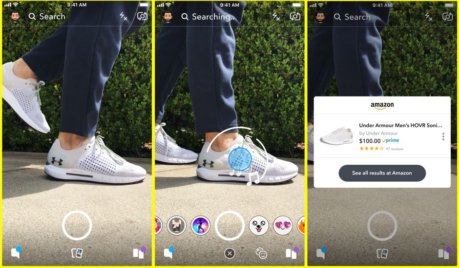 Snapchat lance Visual Search, une fonctionnalité qui permet de faire du shopping sur Amazon