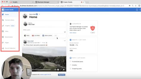 Interface de publication Facebook
