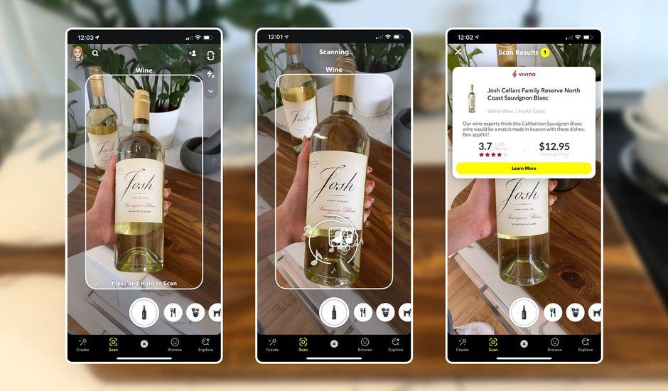 Une démonstration de la fonctionnalité pour scanner les bouteilles de vin sur Snapchat.