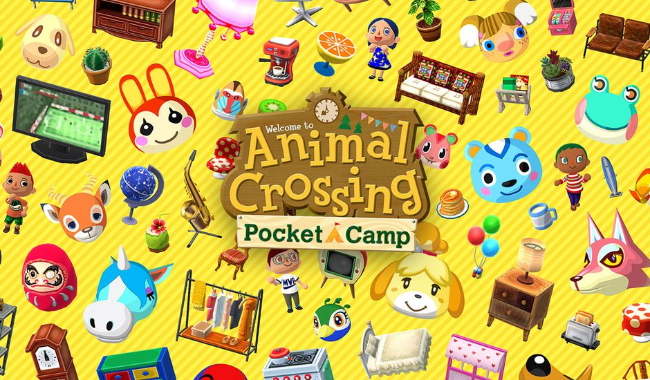 Des stickers Animal Crossing collés sur un fond jaune avec le logo au centre.
