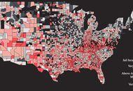 Carte des USA selon le taux d'incarcération par comté