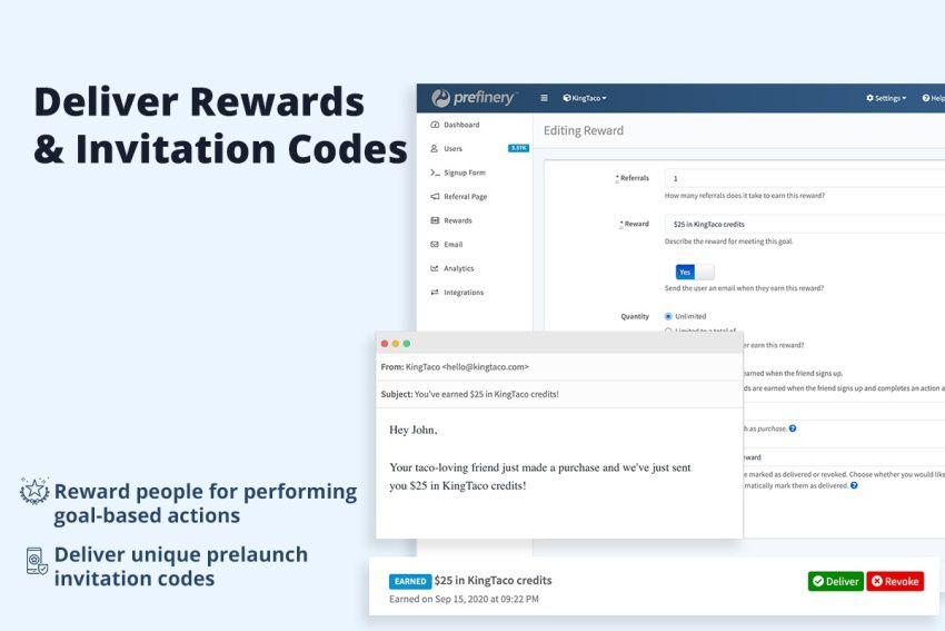 Prefinery rewards