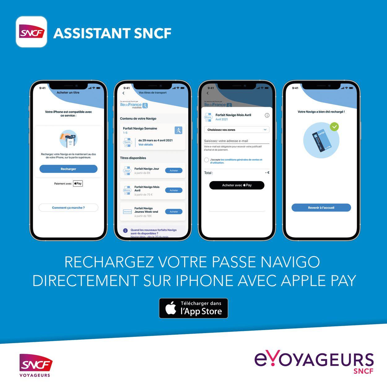 4 écrans présentant la recharge du pass Navigo sur l'Assistant SNCF depuis un iPhone