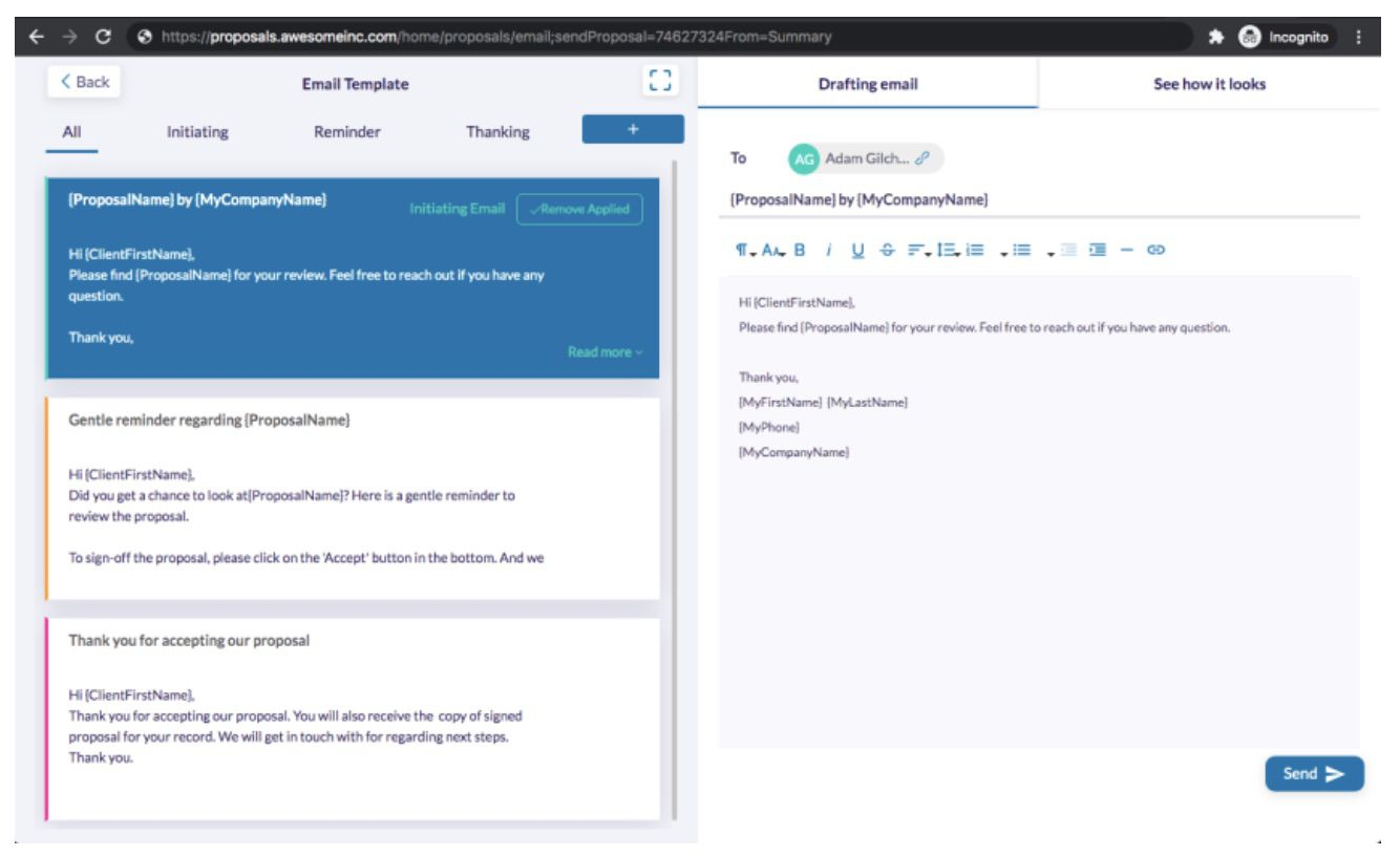 email perosnnalisé pour envoyer une proposition via Fresh Proposals