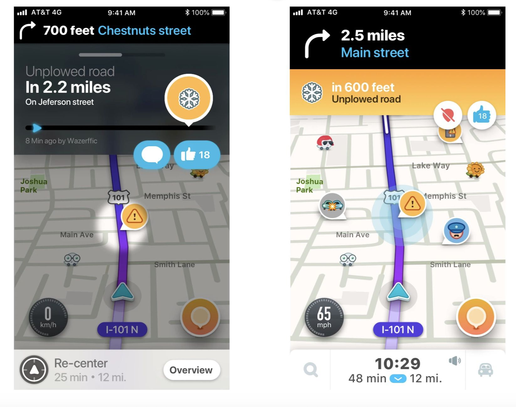 aperçu de la fonctionnalité route enneigée sur Waze