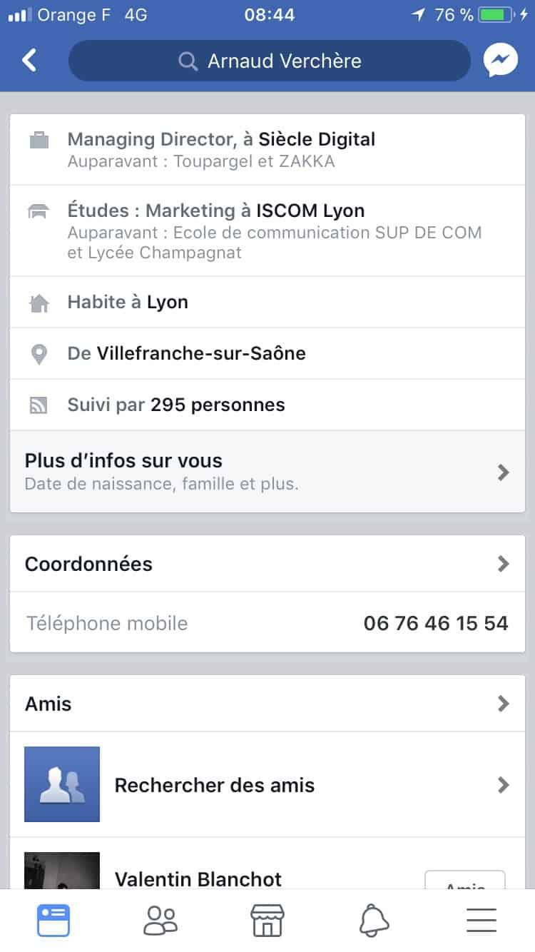 facebook profil cv