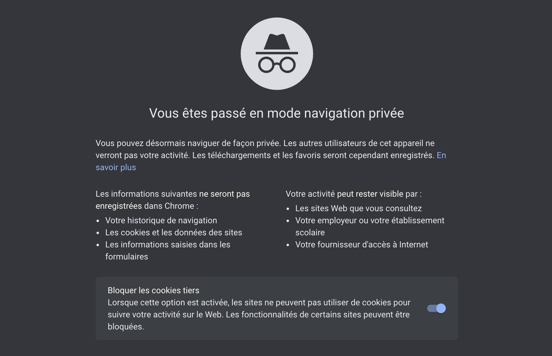 Capture d'écran de ce qui est affiché par Google sur les fenêtres de navigation privée.