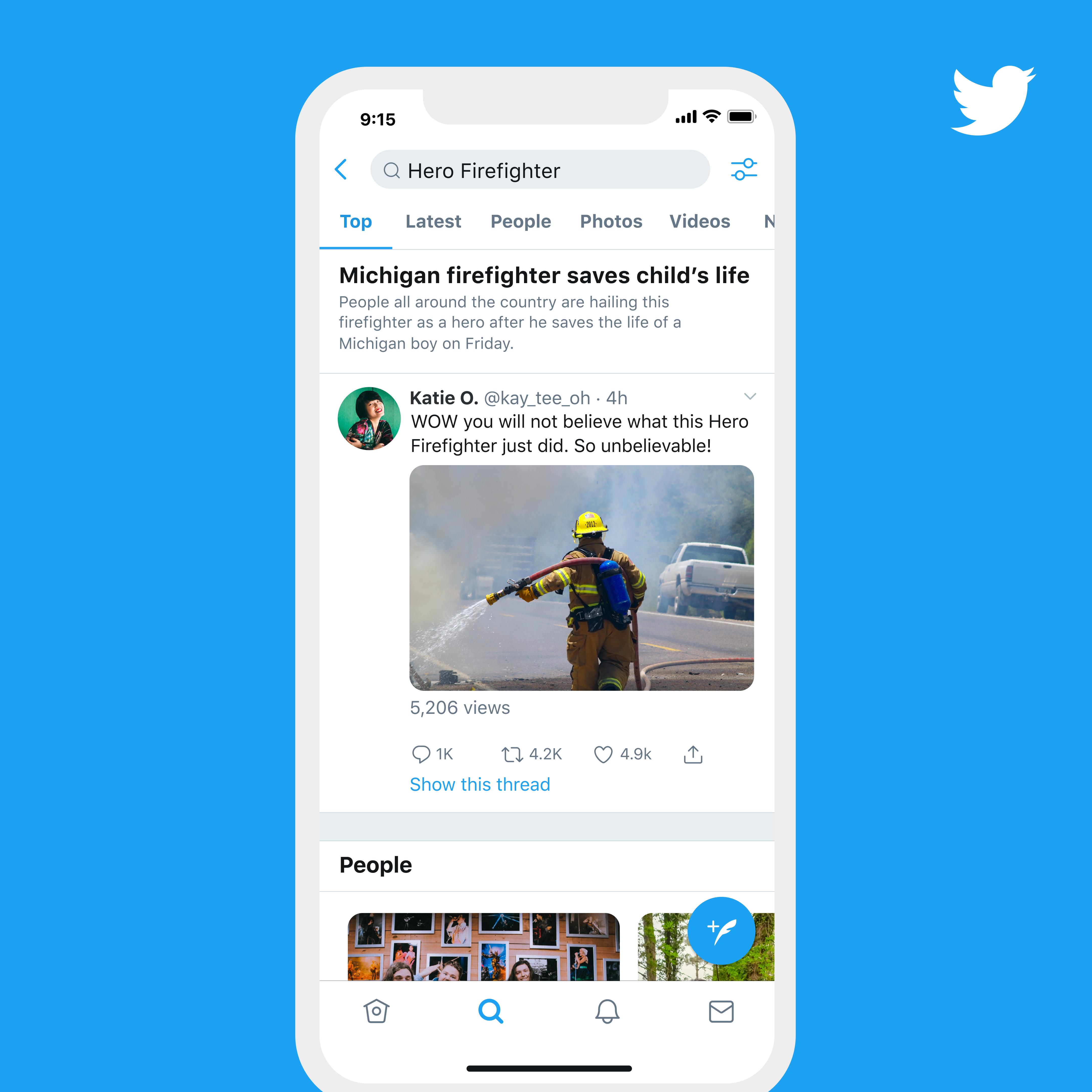 Présentation d'une tendance sur l'application mobile de Twitter avec une description rédigée par l'équipe de curation de l'entreprise