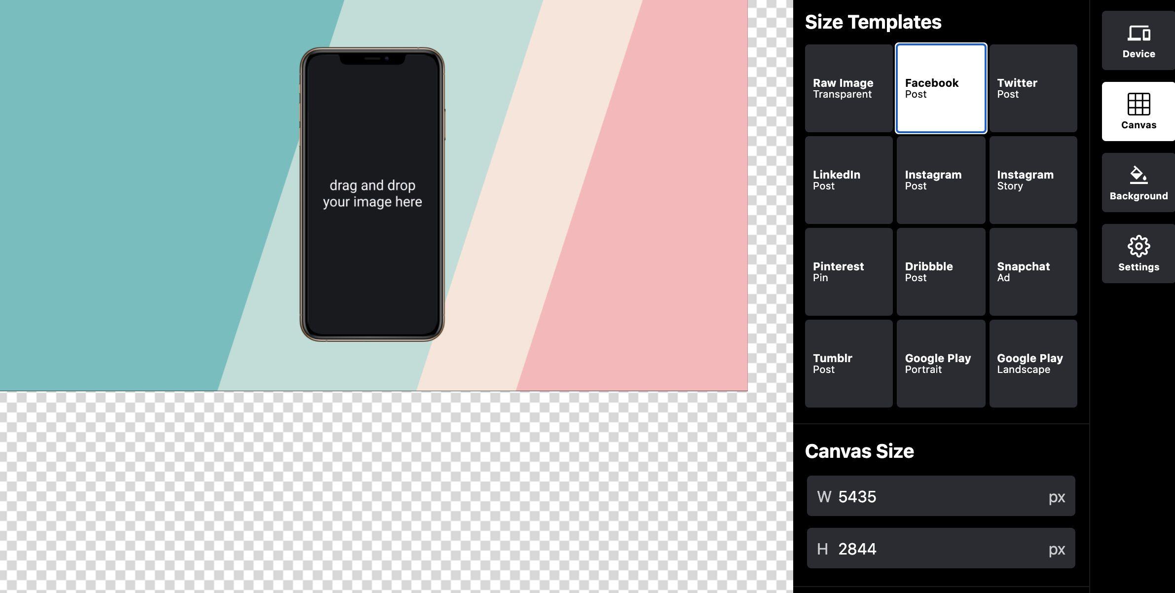 mise en page de l'outil Device Shots