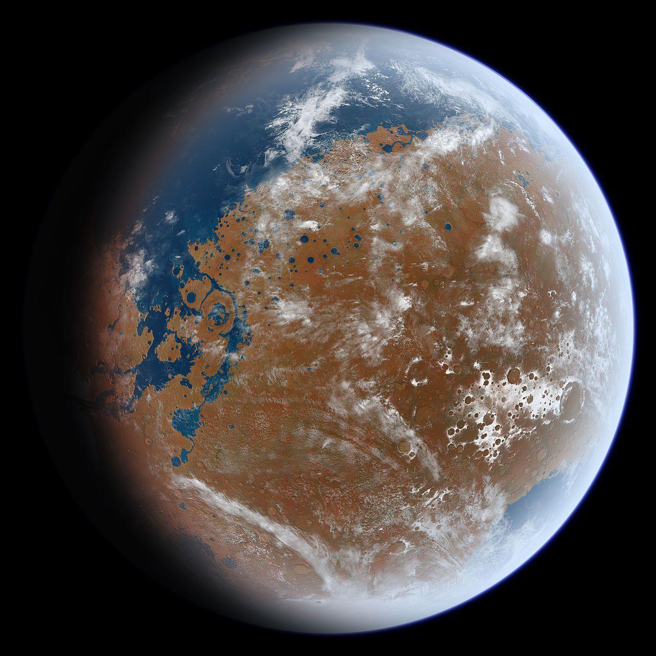 Vision d'artiste de Mars il y a des milliards d'années.
