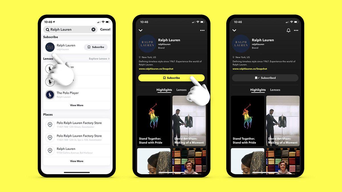 Trois smartphones montrant les différentes interfaces des Brand Profiles de Snapchat.