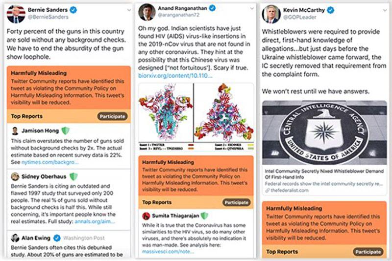 Twitter : des captures d'écran de la maquette de la nouvelle fonctionnalité qui signale les tweets trompeurs.