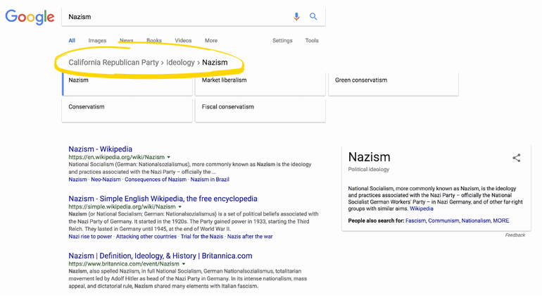 Google Wikipédia Nazisme
