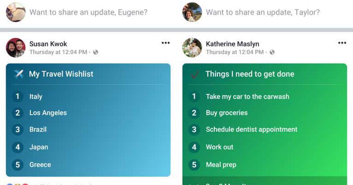 Facebook Lists : vous pouvez transformer vos publications en checklist
