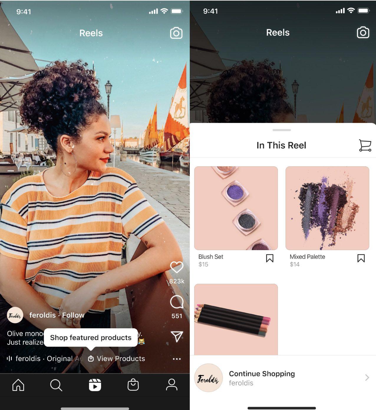 Aperçu de la fonctionnalité Shopping sur Instagram Reels.