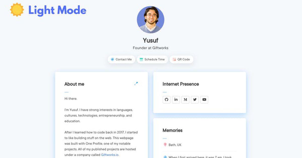 One Profile : créez gratuitement votre page personnelle ou professionnelle sur le web !