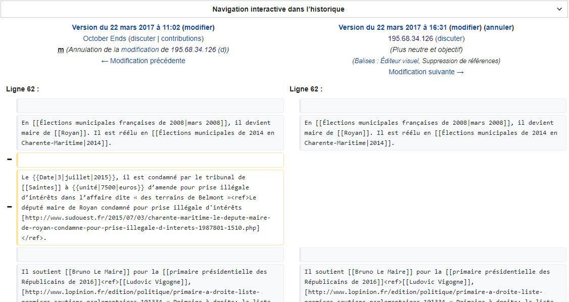 Tentative de modification de la page Wikipédia de Didier Guillaume