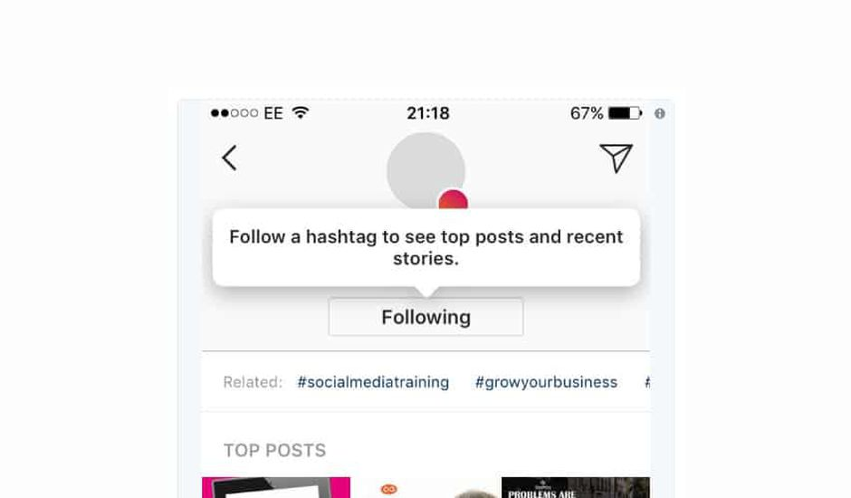 instagram follow hashtag