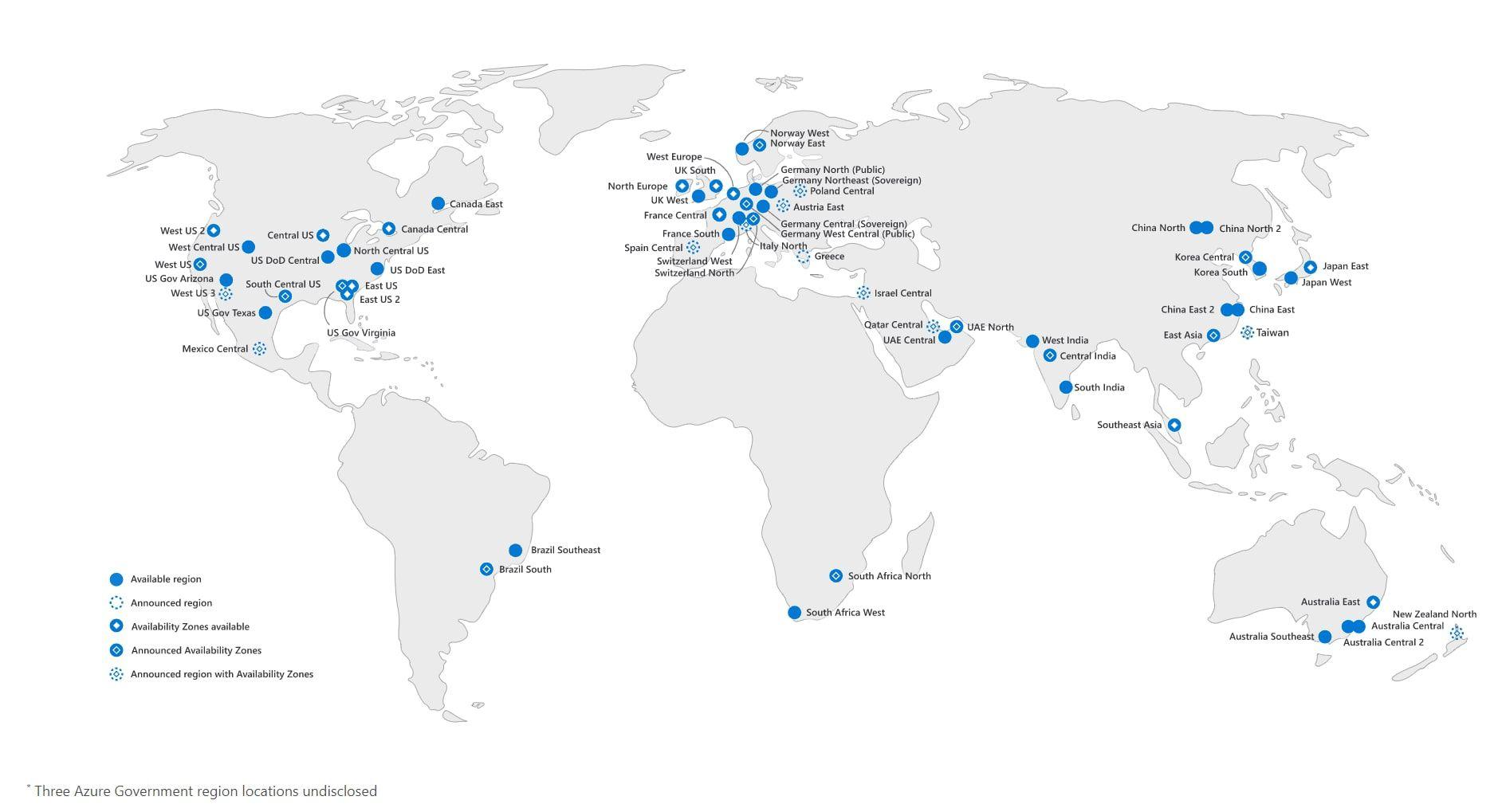 Répartition géographique des data centers de Microsoft azure