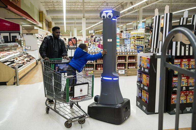 Les robots Marty qui nettoient les allées des magasins Stop & Shop