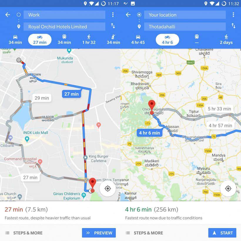 mode deux roues Google Maps
