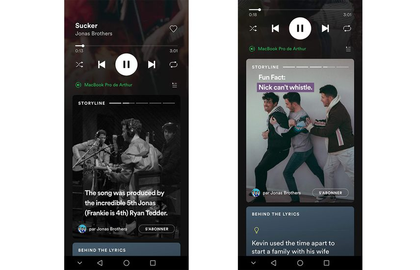Storyline, les stories sur Spotify