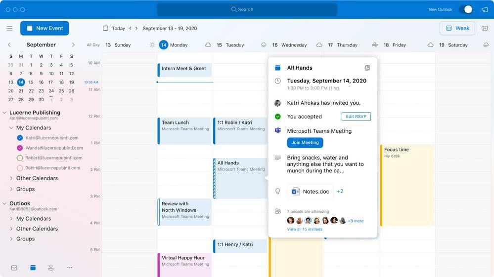 Capture d'écran de la fonctionnalité Calendrier sur Outlook.