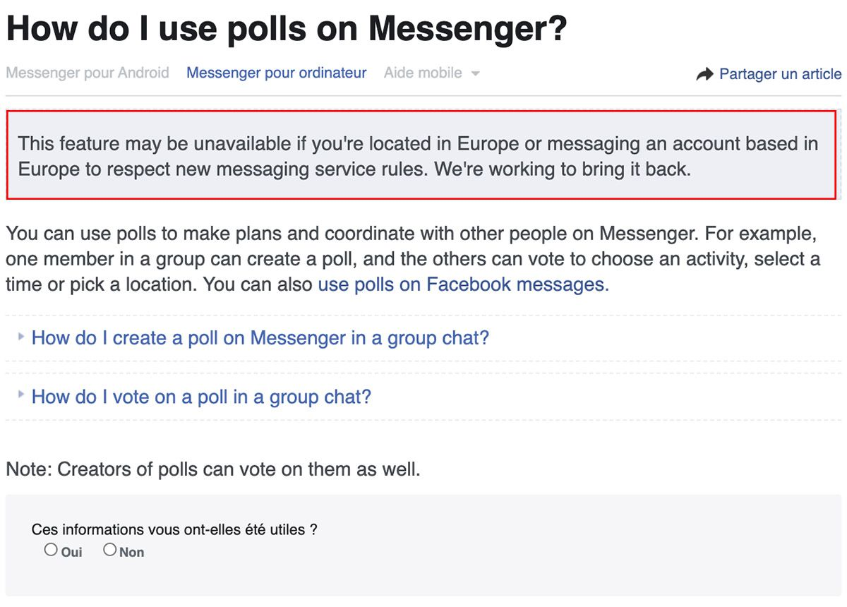 """Capture d'écran de la page d'aide """"How do I use polls on Messenger?"""""""