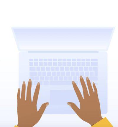 Schéma d'une journaliste en train de taper sur son ordinateur portable.
