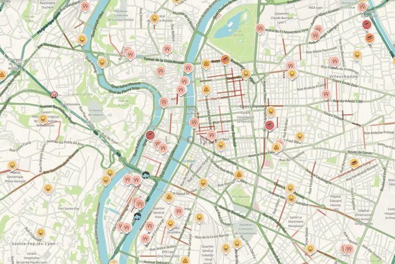 Carte en temps réel de Waze à Lyon