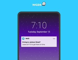 Une notification de l'application Waze sur un smartphone.