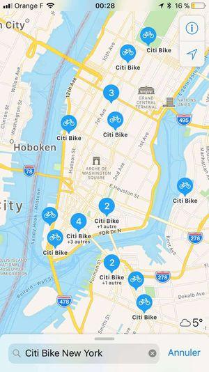 Apple Plans vous montre les stations de vélos en libre-service les plus proches de vous.