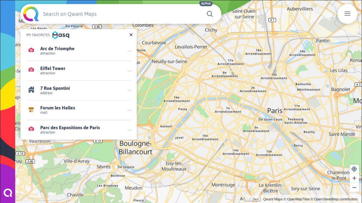 Présentation des lieux personnalisés dans Qwant Maps grâce à Masq