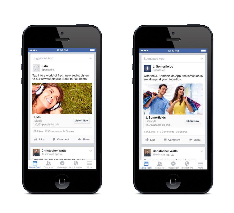 Facebook ads objectig engagement application