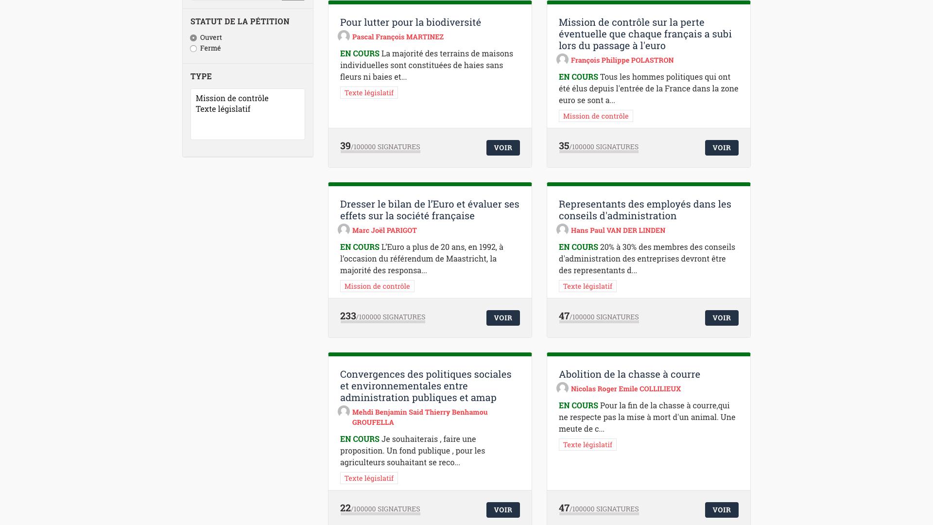 Pétitions déjà en ligne sur E-pétitions