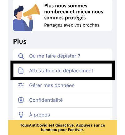 Capture d'écran de l'application TousAntiCovid