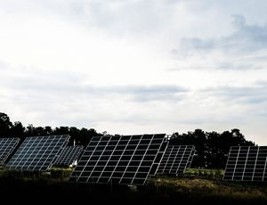Aperçu d'un champ de panneaux solaires.