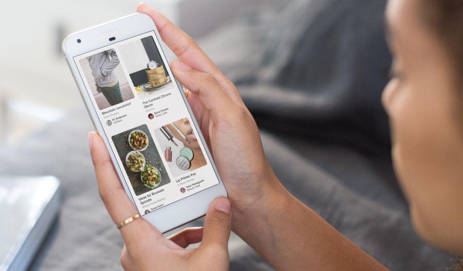 Pinterest affiché sur un smartphone.