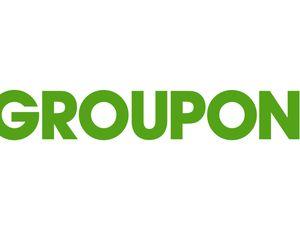 Le logo de Groupon sur fond blanc.