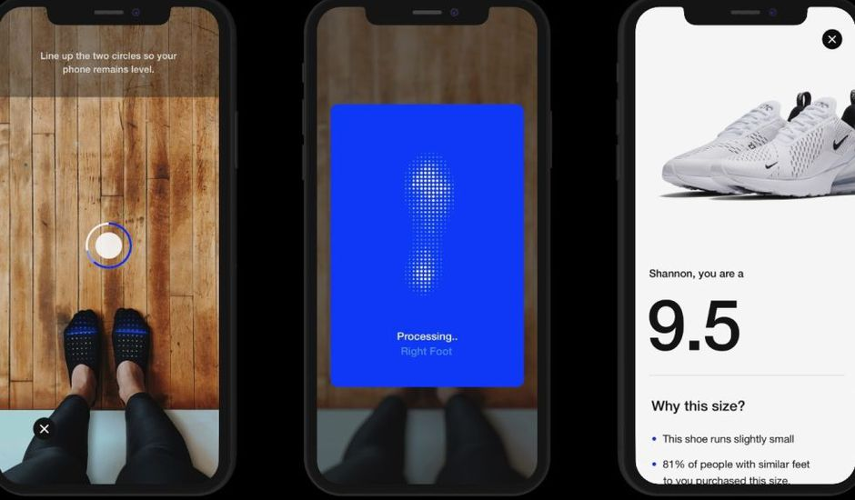 Nike sort un outil de réalité augmentée dans son application pour vous permettre de mesurer vos pieds