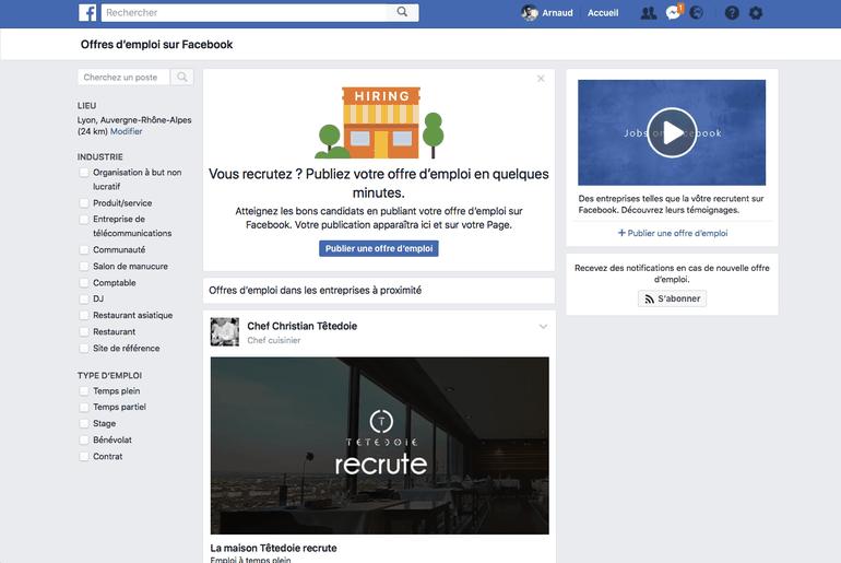 Facebook fonctionnalité offres d'emploi en france