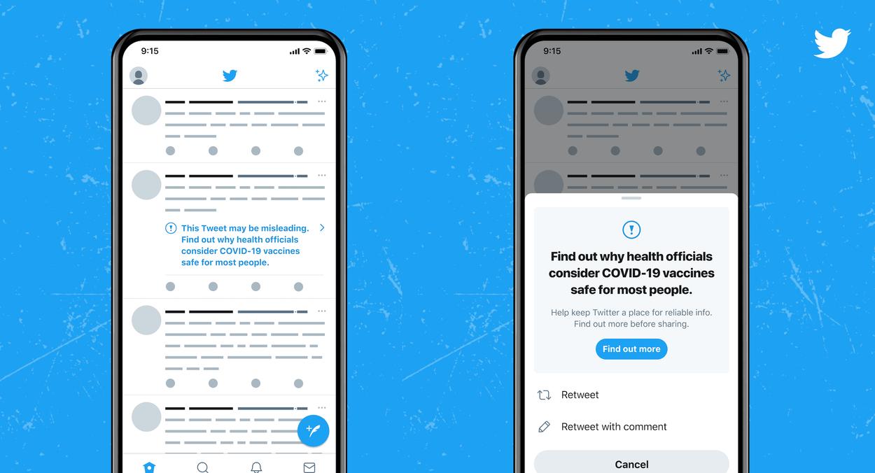 Une étiquette sera présentée aux utilisateurs de Twitter en cas de consultation d'un tweet relayant de fausses informations sur les vaccins contre le coronavirus