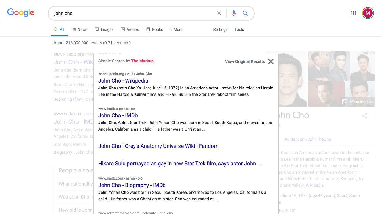 Aperçu de l'extension Simple Search.
