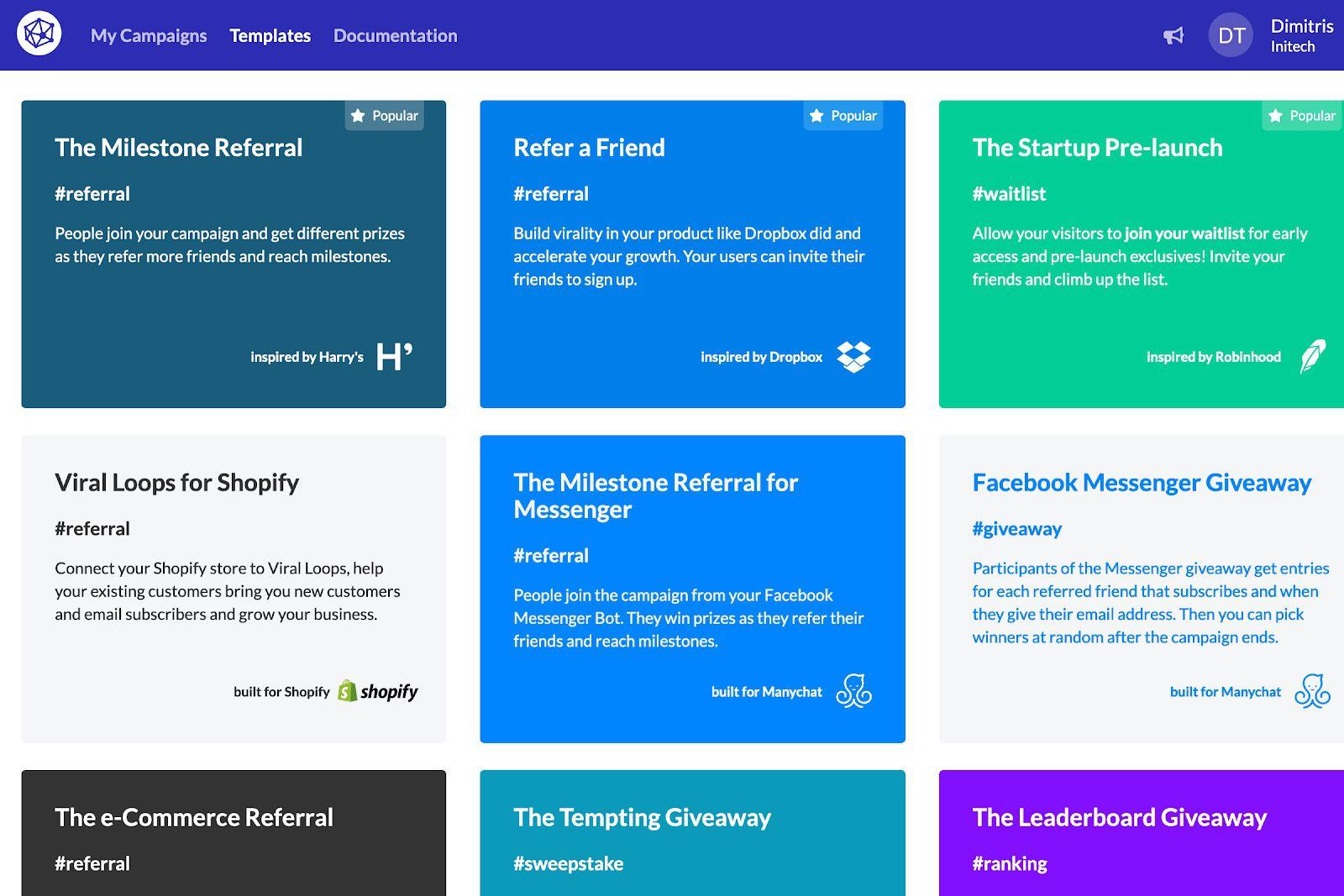 Les différentes campagnes proposées sur l'outil Viral Loops