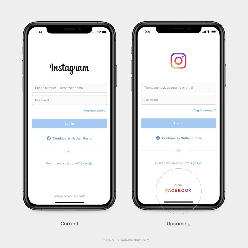 nouvel écran de connexion Instagram, avec le nouveau logo Facebook