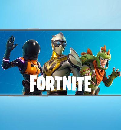 L'écran d'accueil du jeu Fortnite sur un smartphone.