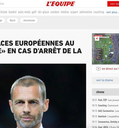 L'Équipe / capture d'écran de la page d'accueil du site