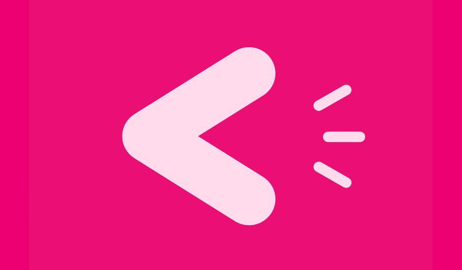 Le logo de Voisey sur un fond rose.