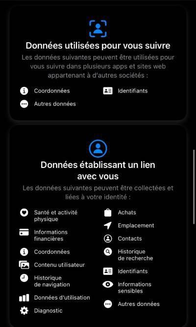 Capture d'écran du label de Facebook dans l'App Store